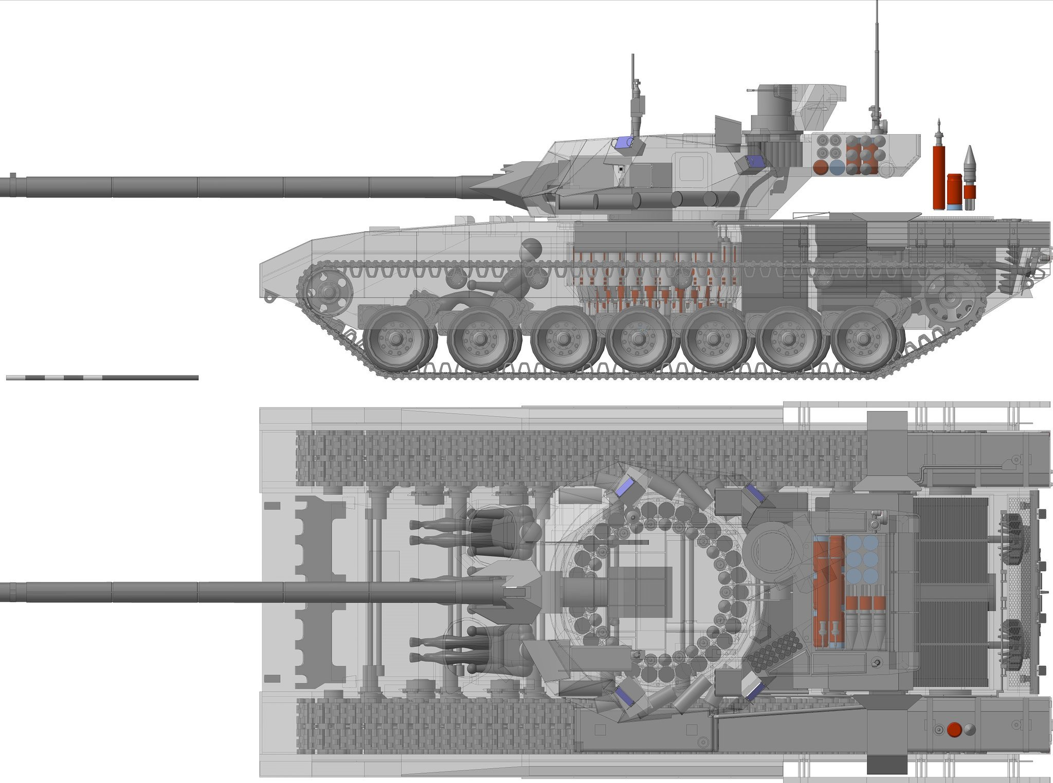 T-14 Tankı Kesit taslağı