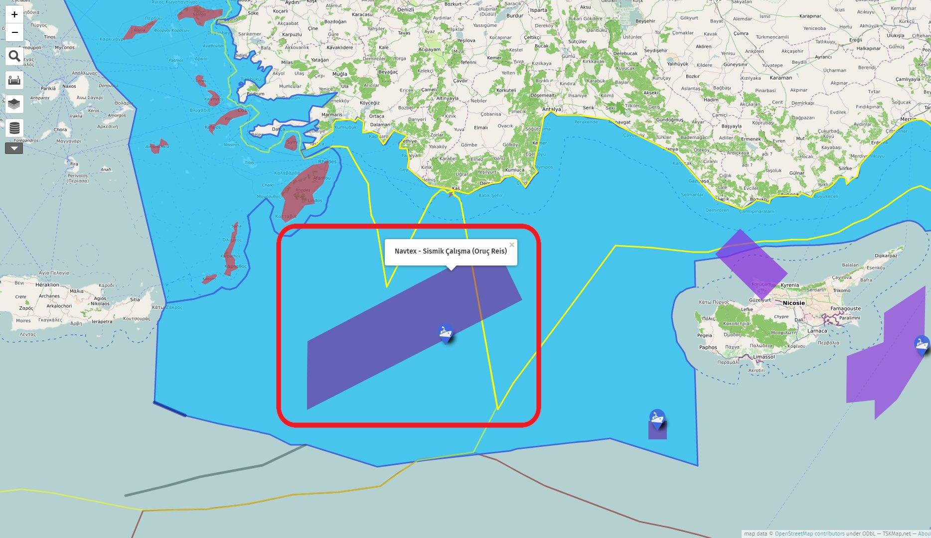Oruç Reis Araştırma Gemisi Navtex alanı